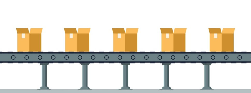 Box on Automatic Mechanical Packing Conveyor Line