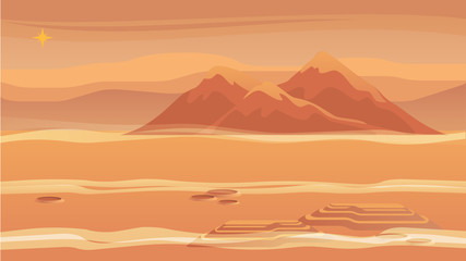 Panorama Mountain Landscape Red Planet Surface
