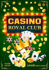Casino poker cards, chips and golden coins