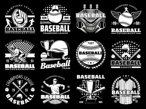 Baseball game sport vector icons and equipment