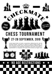Chess sport tournament, game pieces and timer