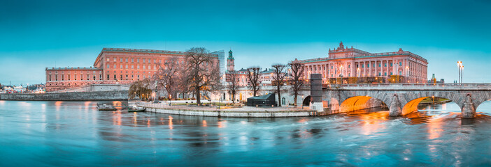 Stockholm city center with Royal Palace and Museum of Medieval Stockholm at twilight, Sweden