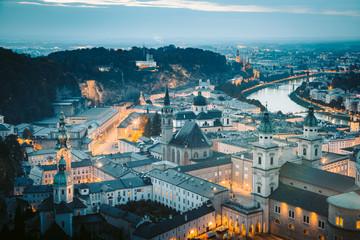 Historic city of Salzburg at twilight, Austria