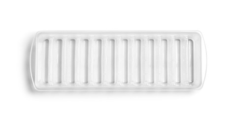 Empty ice cube tray on white background, top view