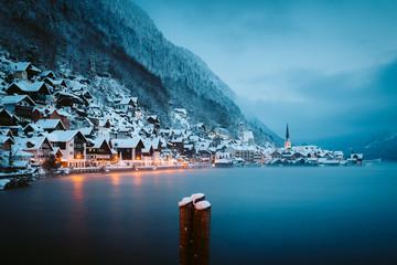 Twilight view of Hallstatt in winter, Salzkammergut, Austria