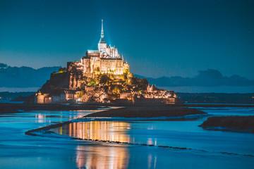 Mont Saint-Michel at twilight, Normandy, France