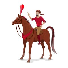 Circus rider on horse, isolated on white