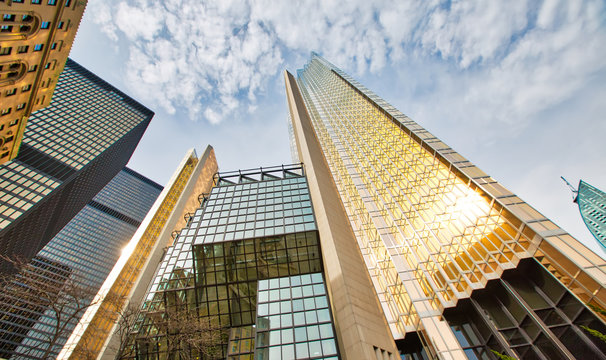 Toronto, Canada-20 June, 2018: Covered in gold-bronze glass, Royal Bank Plaza-a skyscraper in Toronto, Ontario, Canada that serves as the de facto operational headquarters of the Royal Bank of Canada.