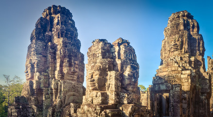 Buddha faces in Bayon temple in Angkor Thom. Siem Reap. Cambodia. Panorarma