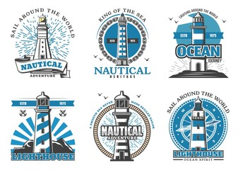Lighthouse and beacon navigation vector icons