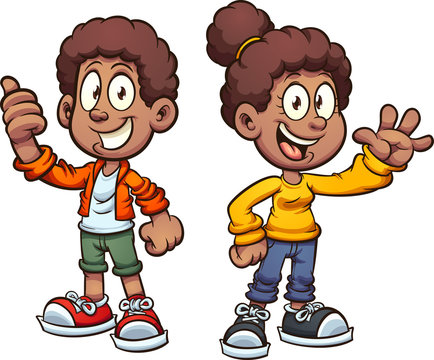 Happy black cartoon kids waving