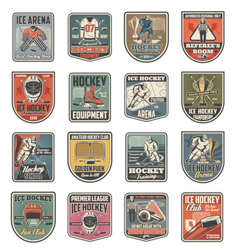 Ice hockey sport icons, players and sporting items