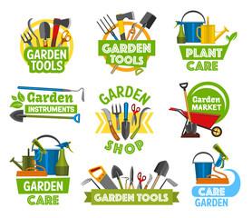 Gardening shop equipment, gardening icons
