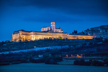 Historic town of Assisi in twilight, Umbria, Italy