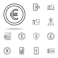 euro coin icon. Finance And Chart icons universal set for web and mobile