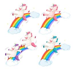 Set of happy unicorn slide on rainbow