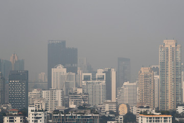 The skyline is seen through polluted air during a poor air quality day in Bangkok