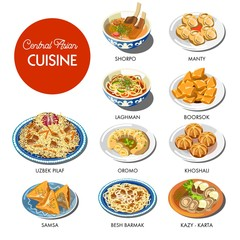 Central Asian food cuisine traditional dishes vector