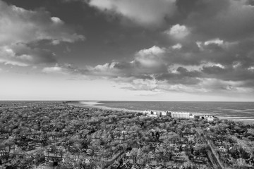 Arial landscape taken with a drone, Chicago area