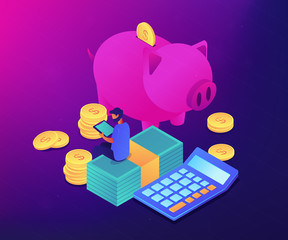 Businessman sitting on banknotes at piggy bank tracking income, expences. Budget control app, home budget application, accounting services concept. Ultraviolet neon vector isometric 3D illustration.