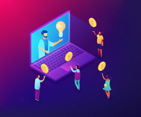 Businessman with idea on laptop rasing money via internet to support project. Crowdfunding, crowdsourcing project, alternative financing concept. Ultraviolet neon vector isometric 3D illustration.