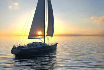 Sailing on sea and sunset 3d illustration
