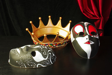Crown and carnival mask