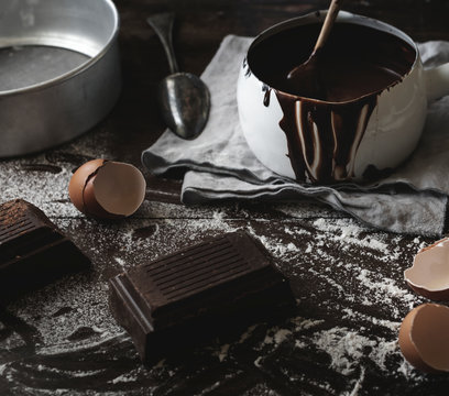 Chocolate fudge ingredients on a table