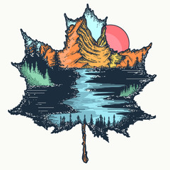 Autumn leaf and mountains tattoo and t-shirt design. Symbol of tourism, adventure, outdoors, nature, fall and travel
