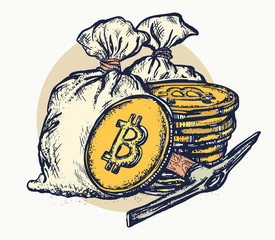 Golden coins and bag of money. Cryptocurrency bitcoin mining symbol