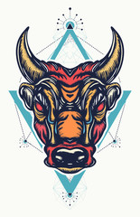 Angry bull t-shirt design. Minotaur, symbol of bravery, fight, hero, army