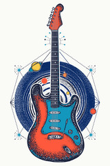 Guitar and universe t-shirt design. Music art color poster