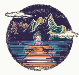 Woman and mountains. Symbol of dream, romantic, love, outdoor. Night mountain lake tattoo and t-shirt design