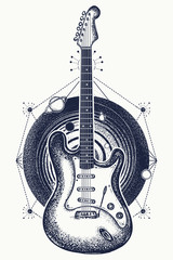 Magic electric guitar and universe tattoo. Music art