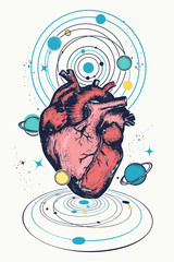 Magic anatomical heart in space, galaxies and planets t-shirt design. Symbol of love, philosophy, psychology, imagination, dream. Surreal sci-fi poster