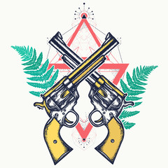 Magic crossed guns and fern t-shirt design. Crime concept. Wild west pop culture art poster. Crossed vintage revolvers