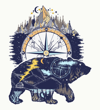 Bear and mountains, t-shirt design art. Travel and outdoor symbol, adventure tourism. Mountain, forest, night sky. Magic tribal bear double exposure