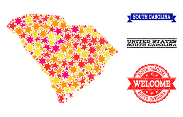 Mosaic map of South Carolina State composed with colored flat stars, and grunge textured stamps, isolated on an white background.
