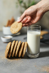 Closeup of Snickerdoodle cookies with milk