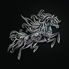 vector illustration of an horse in old Russian Gorodetsky style.