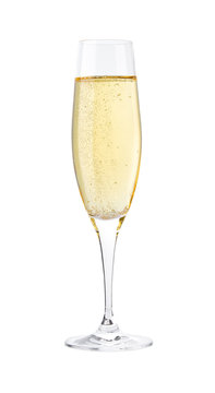 Full glass of champagne isolated on a white background