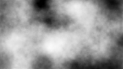Black digital abstract background with white mist clouds scattered around the area and areas with deep depths.