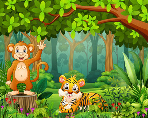 Animal cartoon in the beautiful green forest landscape