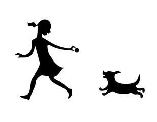 Girl and dog. Game. Vector illustration.