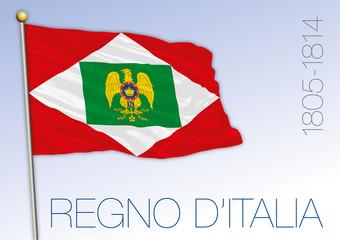 Kingdom of Italy, Napoleon King, historical flag 1805 - 1814, vector illustration