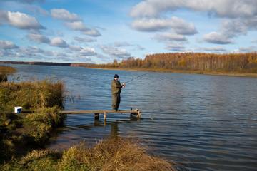 Autumn fishing on the lake