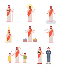 Jesus character set in the Bible. flat design vector graphic style concept illustration.