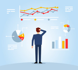 Businessman looks at various charts and diagrams. Business management concept. Flat design vector illustration