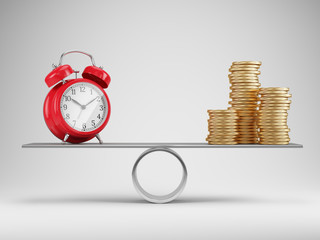 Time and money balance concept. Alarm clock and stacks of coins on scales - 3d rendering