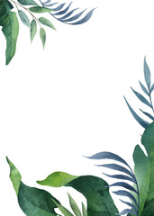 Watercolor vector green card tropical leaves and branches isolated on white background.